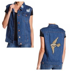 ASHLEY MASON Blue Distressed Denim Vest Size 8
